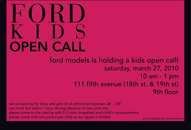 OPEN CALL: Ford Models NYC, Saturday March 27, 2010