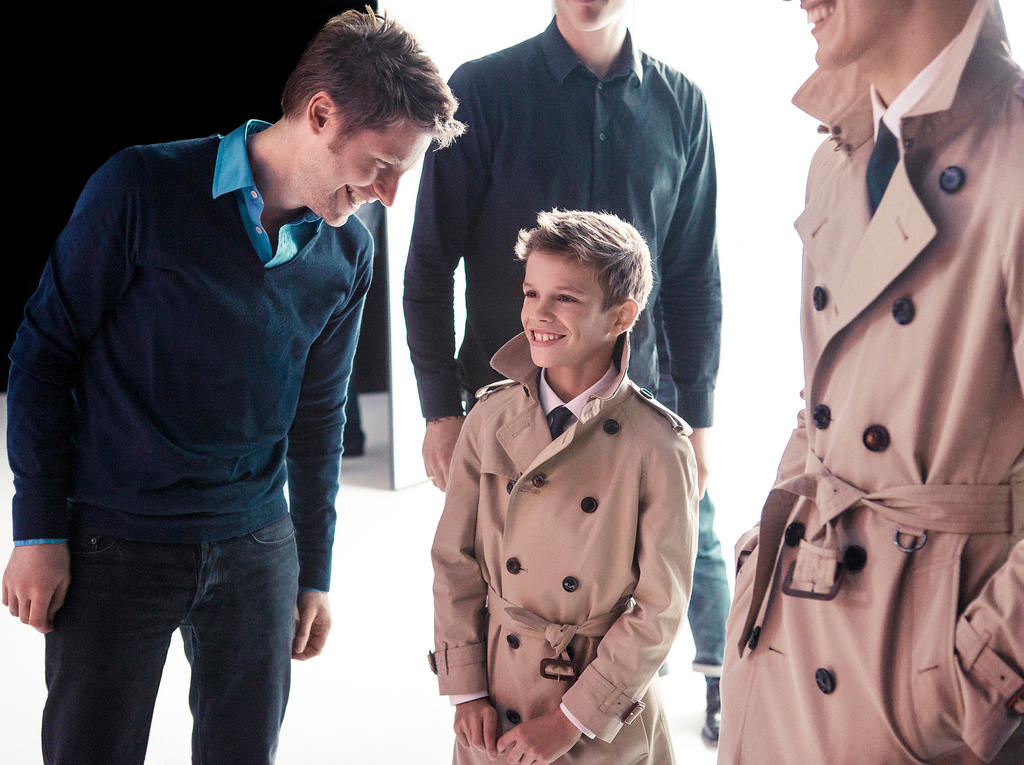 Romeo Beckham on set at the Spring:Summer 2013 campaign shoot with @Burberry Chief Creative Officer Christopher Bailey