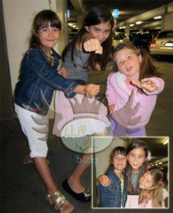 SPY KIDS Star Rowan Blanchard poses with HMB kids Sophia and Simone Card at HMB's Spy Kids 4 Screening