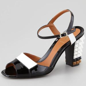 Fendi-Runway-Patent-Pyramid-Studded-Heel-Sandal