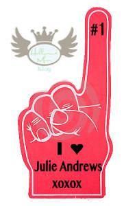 julie andrews foam finger