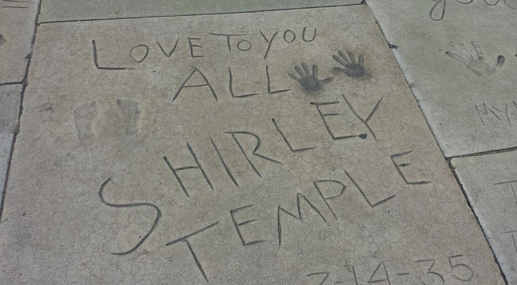 On March 14, 1935, Temple left her footprints and handprints in the wet cement at the forecourt of Grauman's Chinese Theatre in Hollywood.