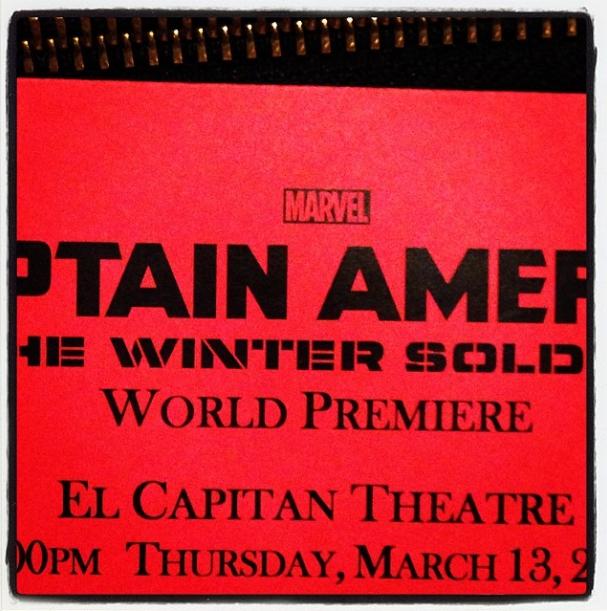 Captain America Winter Soldier Premiere Invitation