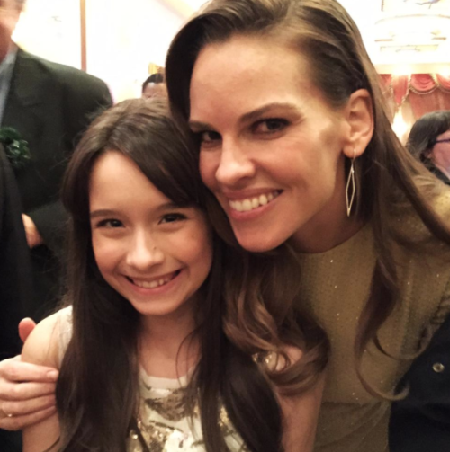 Hilary Swank took time at the event to talk to many Child Actors. Pictured here with Michelle Moores.
