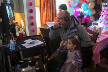 AntMan Director Peyton reed watches playback wit Child Star Abby Ryder Forston