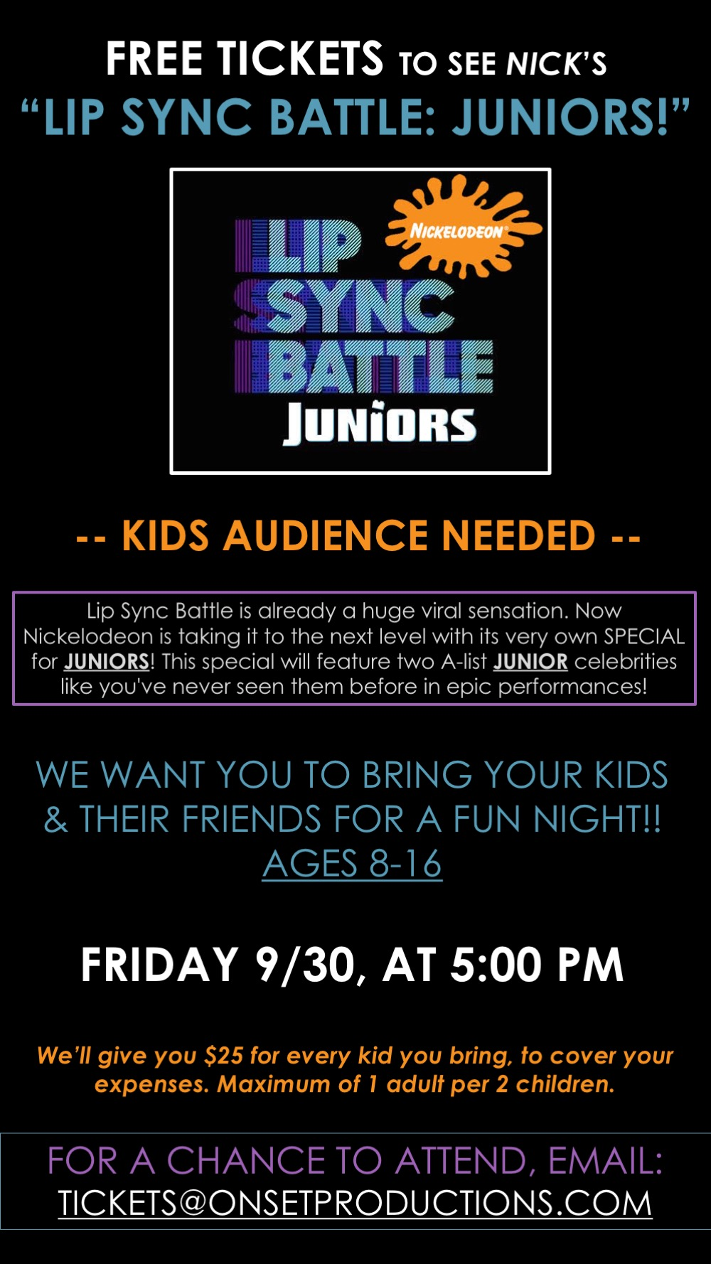FREE Spike TV Tickets LIP SYNC BATTLE JUNIOR
