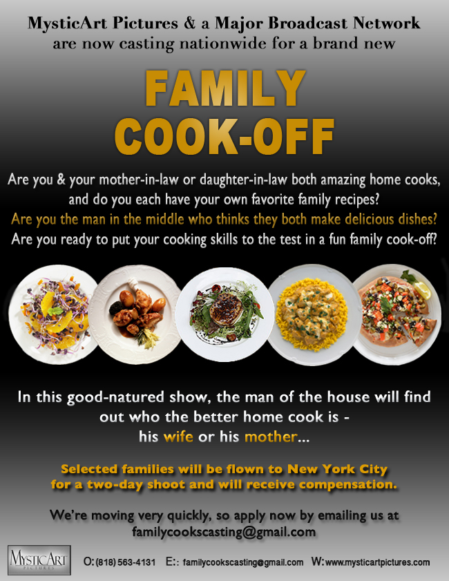 Casting New Family Cooking Competition Series - Hollywood Mom Blog